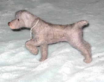 Needle Felted Dog / Custom Miniature Sculpture of your pet Cute / poseable / example Weimaraner