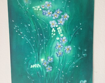 Oil painting blue blossom