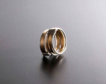 Double band Ring Brass and silver 800