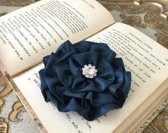 Teal Flower Hair Piece.Teal Flower Brooch.Flower Pin.Bridesmaid.Wedding.Dark Teal Flower headpiece.Hair Accessory.Teal Flower Hair Clip