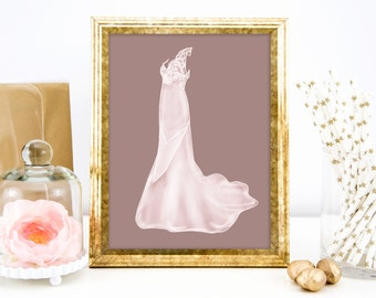 Gift for Mom, Mothers Day Custom Wedding Dress Sketch Fashion Illustration, Personalized Unique Gift Idea, Gift for Grandma, Gift for Her