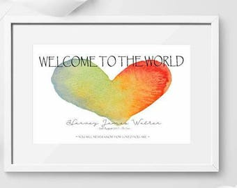 New Baby - Welcome to the world Print / Birth Print / New Parents / Congratulations / Hello World