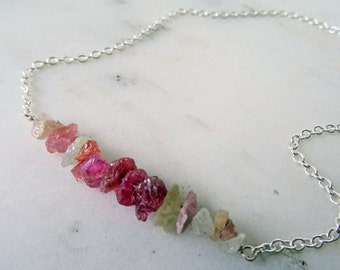 Sapphire necklace - pink - silver layering necklace - September birthstone - multicolor necklace - raw gemstone jewelry - raw pink Sapphire