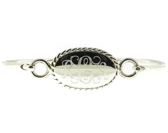 Monogrammed 925 Sterling Silver Rope Edge Oval Hinged Cuff Bracelets