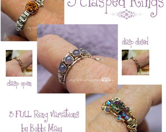 DIY Wire Wrap Ring, Wire Wrap Clasp Rings Tutorial, 3 FULL Variations, Wire Jewelry Tutorial Discount Package, 5 FREE Button Montees Limited