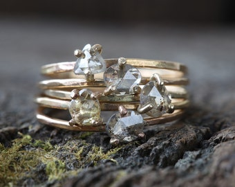 Natural Rose Cut Diamond Stacking Ring