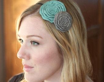 Aqua Blue and Grey Double Folded Flower Headband for Women