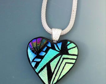 Bold Contemporary Etched Valentine Heart Pendant, Dichroic Fused Glass Hand Etched  Pendant, Fused Glass Heart Pendant, Zentangle Pendant