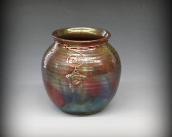 Raku Pot with Star and Moon in Metallic Iridescent Colors