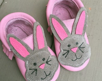 Bunny Easter Leather Moccasins