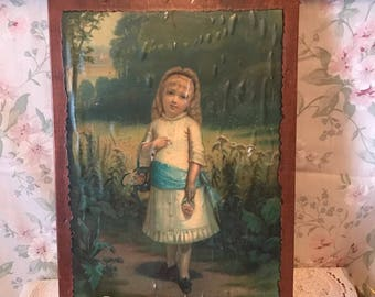 Shabby Chic Vintage Little Girl Victorian Wooden Wall Hanging Picture Home Decor