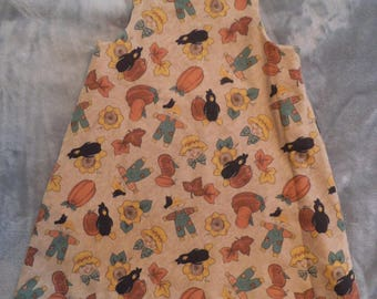 Vintage Fall Dress Pumpkins Scarecrows Crows Pumpkins ~ Madie B's Creation ~ Made with Love in Mind