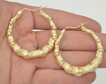 "REAL 10K Yellow Gold 1 3/4 "" 42mm  big Extra Large Graduated Bamboo Hoop Earrings 4.9 gr"