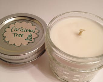 50% christmas shopping! Christmas Tree Scented Soy Candle. 4 oz Mason Jar. Handmade by me in Colorado. Nontoxic Gift. Gifts for hostess.