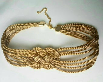 Golden silk cord sailor knot belt