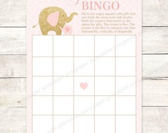 baby shower bingo game card printable DIY elephants mint gold glitter baby girl digital shower games - INSTANT DOWNLOAD