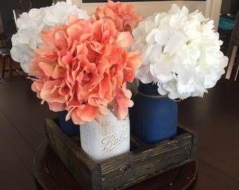 Rustic Square Mason Jar Planter Box, Square wood planter box, Rustic home decor, Wedding centerpiece, Rustic centerpiece, Table decor