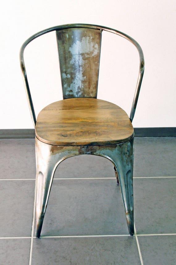 chaise industrielle vintage vieilli. Black Bedroom Furniture Sets. Home Design Ideas