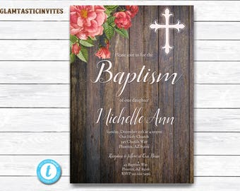 Baptism Invitation Template, Baptism Invitation Printable, Girl Baptism Invitation, Printable Baptism Invitation, You Edit, Template, Rustic