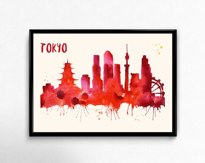 Tokyo Skyline Watercolor Poster - Cityscape Painting Artwork - Art Print, Multiple Sizes - 10x8 to 36x24 - Watercolor Painting Style