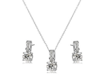 Delicate Crystal Shimmer Necklace Set
