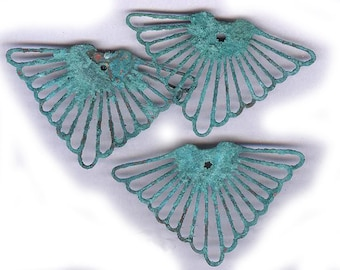 vintage brass findings verdigris lightweight feathery shape, most unusual, nice patina THREE connector findings from dungeon