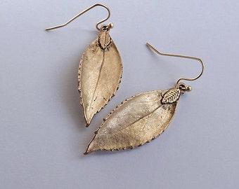 Antiqued Gold Leaf Earrings Gold Leaf Earrings Autumn Leaf Branch Earrings Fall Earrings Rustic Leaf Pendant Nature Leaf Bridesmaids Gift