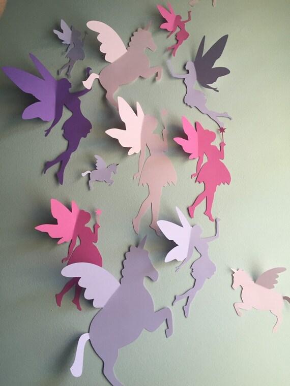 Unicorn and Fairy Wall Decor 3d unicorn and fairy paper wall