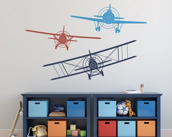 Great Biplane Monoplane Wall Decal  3 Airplanes Wall Decal  Wall Decals Nursery  Boy  Boy Wall Decal  Wall Decal Boys Kids Room Playroom Decor 041
