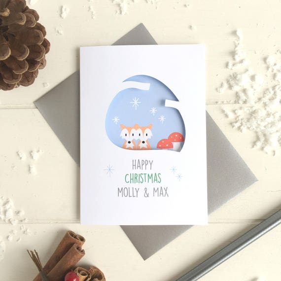 Couple's fox christmas card - Personalised card - 1st christmas card