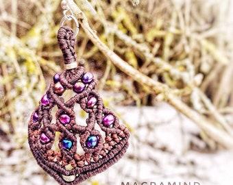 Pink Peacock Macrame Earrings-Wild Spirit Jewelry-Festival Earrings-Ethnic Macrame-Tribal Style-Unexpected Jewelry-Bohemian chic