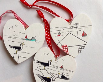 Hand painted wooden hearts- trio of, seaside inspired