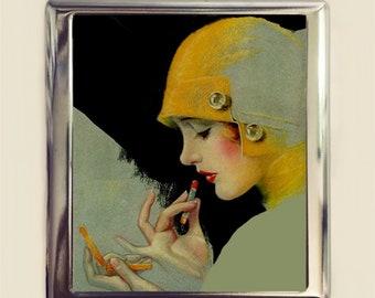 Flapper Lipstick Cigarette Case Business Card ID Holder Wallet Art Deco Jazz Age 1920s Roaring 20s