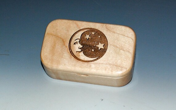 Handmade Wooden Box - Small Wood Box of Maple with Engraved Moon & Stars - Jewelry Box, Gift Box - Treasure Trinket Box - Handmade Wood Box