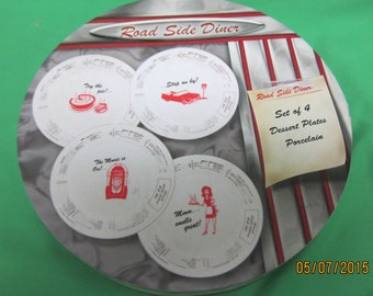 Home Essentials Road Side Diner Porcelain Dessert Plates