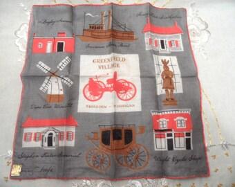 TAMMIS KEEFE linen handkerchief, hankie / Henry Ford Greenfield Village / Dearborn, Michigan / unused Kimball