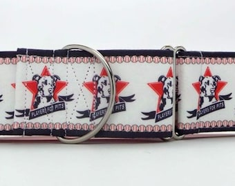 Player's for Pits CANVAS Dog Collar (Martingale, Buckle or Tag)