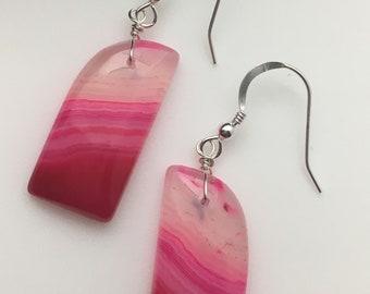Hot Pink Agate Earrings, Agate Earrings, Gemstone Slice Earrings, Gemstone Slab Earrings, Earrings under 50