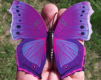 1 BUTTERFLY DECORATION, REFRIGERATOR DECOR. PURPLE MULTICOLORED MAGNETIC. 8, 6 X 8, 2 cm. N ° 5