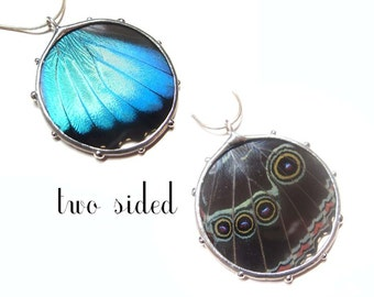 Eyes Blue Morpho Butterfly Necklace - Real Butterfly Wing - Nature Art Jewelry