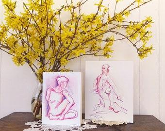 Pink Purple Twist Yoga Drawing, Yoga Wall Decor, Yoga Shelf Decor, Mounted Print, Hot Pink Ultra-Violet Gift for Yogi, Yoga Teacher Gift