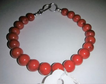 Red Coral Sterling Silver Gemstone Bracelet 8.25 inches long