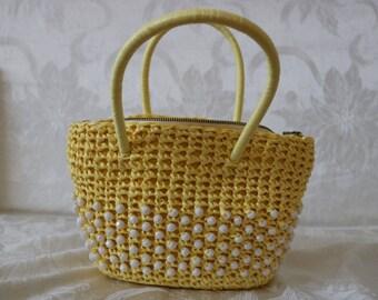 Vintage Woven Yellow Handbag