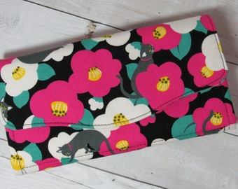 Necessary Clutch Wallet in Japanese Import Fabric with Flowers and Cats / Kitties - Credit Card Pockets, Zip Pockets, Organizer, Floral