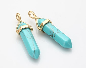Turquoise Gemstone Pointed Pendant (Medium), Charm Polished Gold -Plated - 2 Pieces [G0113-PGTQ]