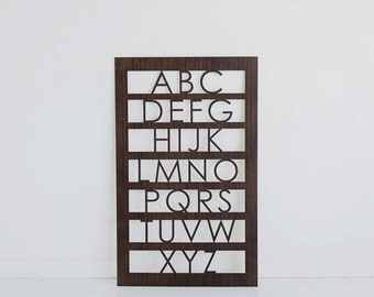 Nursery Wall Art - Alphabet Wood Mid Century Decor