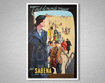 Sabena Vintage Travel Poster - Poster, Sticker or Canvas Print / Gift Idea