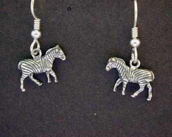 Sterling Silver Zebra Earrings on Heavy Sterling Silver French Wires