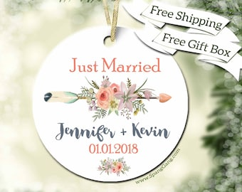 Personalized Wedding Gift | Gift for Engagement | Wedding Gift | Wedding Shower | Just Married | Newlywed Gift | Customized Ornament | WE12