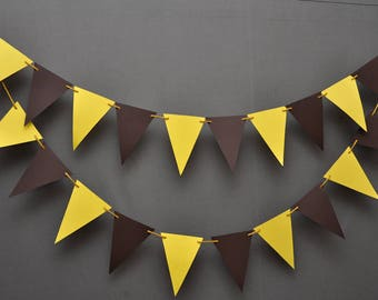 Yellow & Brown Banner- Theme Party -Party Decor -Wedding Garland- Anniversary- Birthday Decorations -Nursery Decor - Triangle Paper Garland
